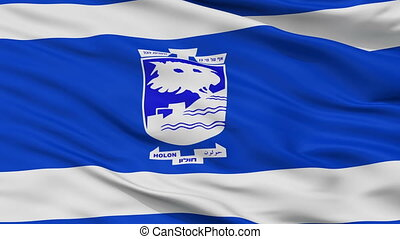 Closeup Holon Version city flag, Israel - Holon Version...