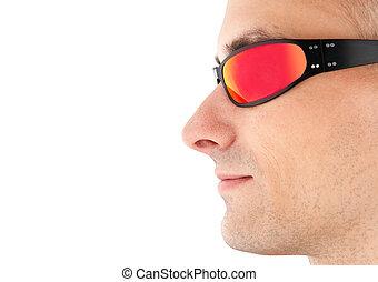 closeup, homme, dans, lunettes soleil
