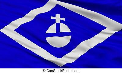 Closeup Hormigueros city flag, Puerto Rico - Hormigueros...