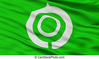 Closeup Hyuga city flag, prefecture Hyuga, Japan - Hyuga...