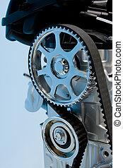closeup, i, en, interne, forbrænding, motor
