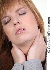 closeup, i, en, kvinde, hos, en, halsen, smerte