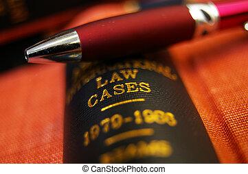 closeup, i, en, pen, på top af, en, juridisk bog
