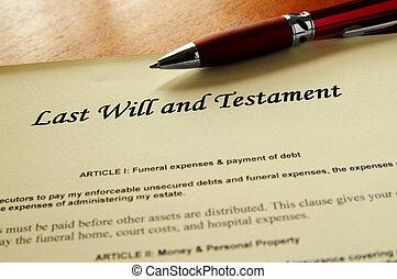 closeup, i, en, sidst vilje testamente, dokument
