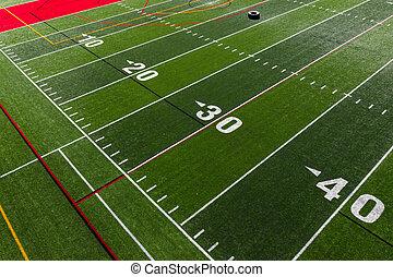 closeup, i, fodbold felt