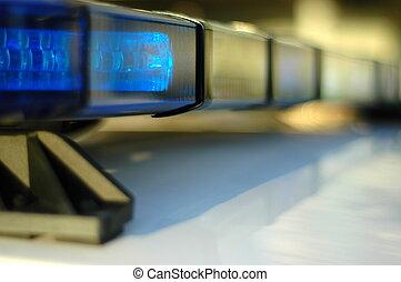 closeup, i, lys, på, en, politi vogn, hos, lav, dyb, i, indstille