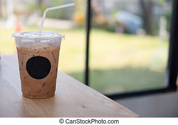 Closeup ice coffee in plastic cup