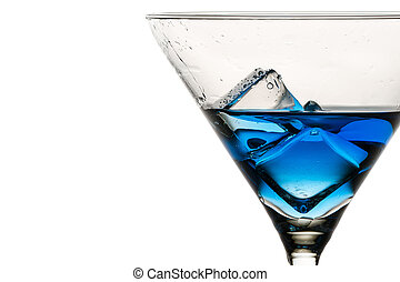 Closeup ice cubes with drops in martini glass