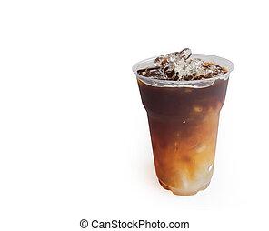 Closeup ice of americano coffee on white background