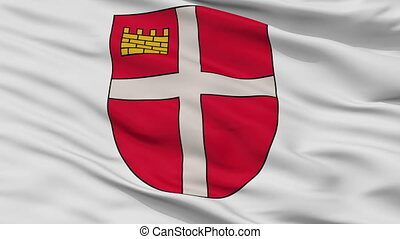 Closeup Ikskile city flag, Latvia - Ikskile closeup flag,...