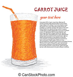 carrot juice - closeup illustration of a fresh carrot juice...