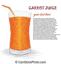 carrot juice - closeup illustration of a fresh carrot juice...