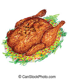 roasted chicken - closeup illustration of a freshly roasted ...