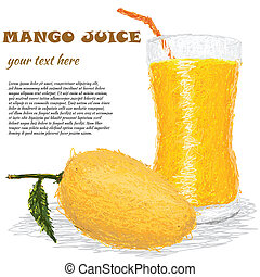 mango juice - closeup illustration of fresh mango fruit and...