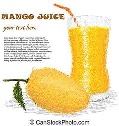 mango juice - closeup illustration of fresh mango fruit and ...