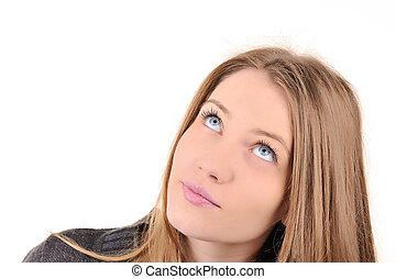Closeup image of a beautiful teenage girl