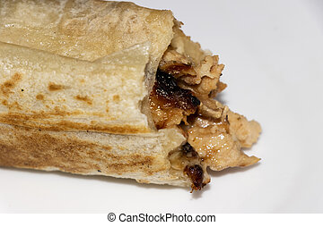 Closeup Image Of Chicken Shawarma Roll In White Background. Selective Focus