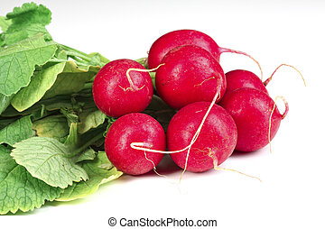 closeup image of classic red fresh radish background