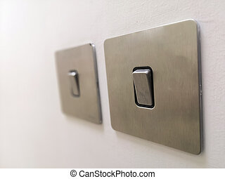 Electrical Switches Turn On - Closeup Image Of Electrical ...