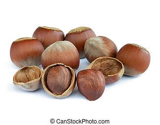 Closeup image of Hazelnuts Isolated on White Background -...