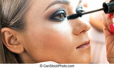 Closeup image of makeup artist applying smokey eyes makeup...