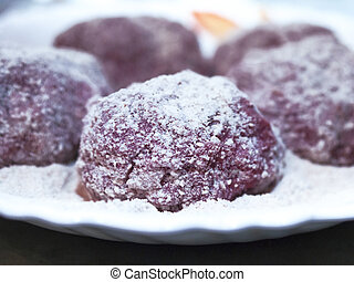 Closeup Image of Mince Organic Meat Burger Patties Covered with Flour, Frying Powder on a White Plate. Cooking At Home Concept.