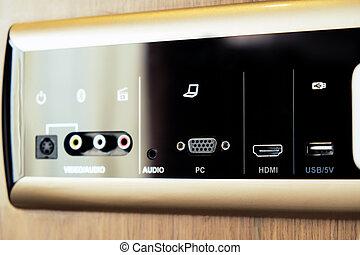 Closeup image of  smart wall plug for usb and internet port.