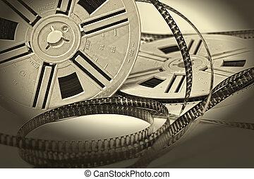 aged vintage 8mm film movie - closeup image on aged vintage...