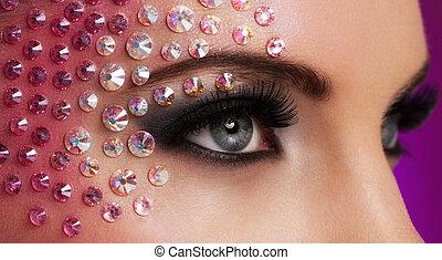 closeup, imagem, de, olhos, com, diamante, maquilagem