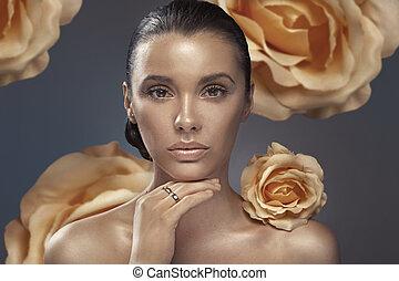 closeup, immagine, brunetta, signora