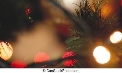 closeup, incandescent, chariot, babioles, métrage, guirlandes, modifié tonalité, noël allume, arbre