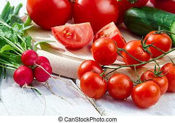Closeup ingredients for a fresh garden salad