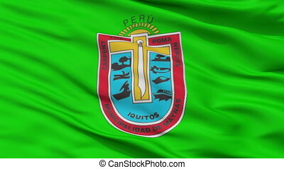 Closeup Iquitos city flag, Peru - Iquitos closeup flag, city...