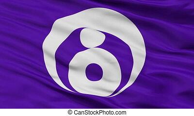 Closeup Ishinomaki city flag, prefecture Miyagi, Japan -...