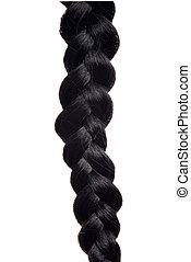 closeup isolated black hair braid
