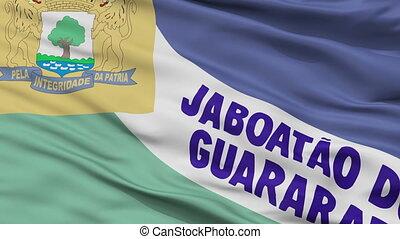 Closeup Jaboatao dos Guararapes city flag, Brasil - Jaboatao...