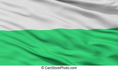 Closeup Jaworzno city flag, Poland - Jaworzno closeup flag,...