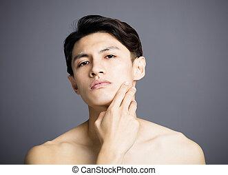 closeup, jelentékeny, fiatal férfiak, arc