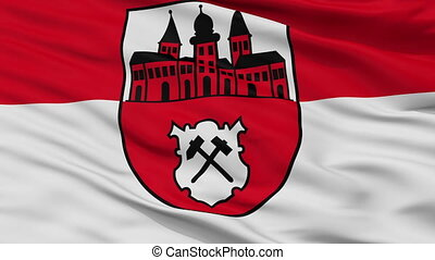 Closeup Johanngeorgenstadt city flag, Germany -...