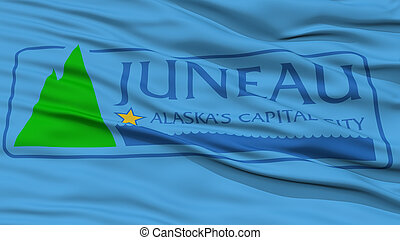 Closeup Juneau Flag, Capital of Alaska State, Flying in the ...