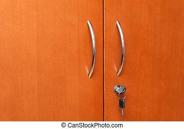 closeup, közül, a, fából való, hivatal, szekrény
