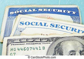 closeup, közül, bennünket, pénz, és, társadalmi értékpapírok kártya