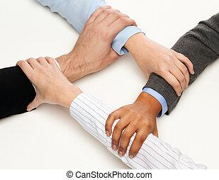 closeup, közül, businesspeople, kézbesít, egyesült