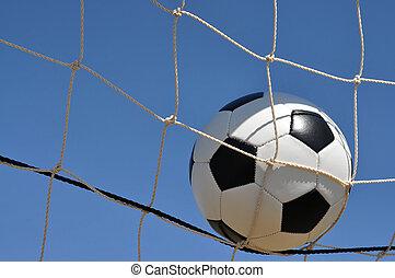 closeup, közül, focilabda, alatt, gól