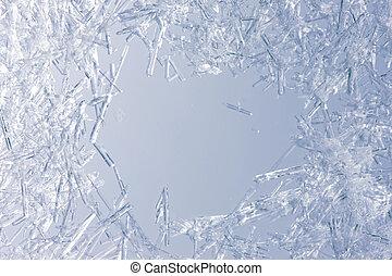 closeup, közül, jég kristály