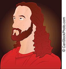 closeup, közül, jesus christ