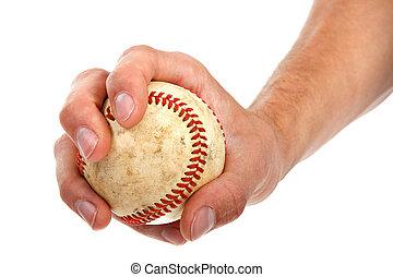 closeup, közül, kezezés kitart, baseball
