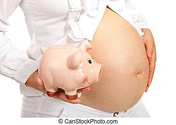 closeup, közül, piggybank, és, terhes, has