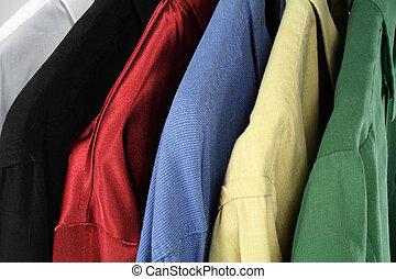 closeup, közül, színes, öltözék