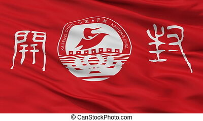 Closeup Kaifeng city flag, China - Kaifeng closeup flag,...